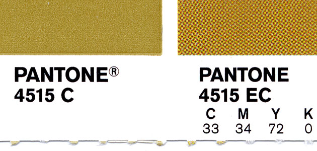 Pantone swatch showing spot colour alongside CMYK process colour
