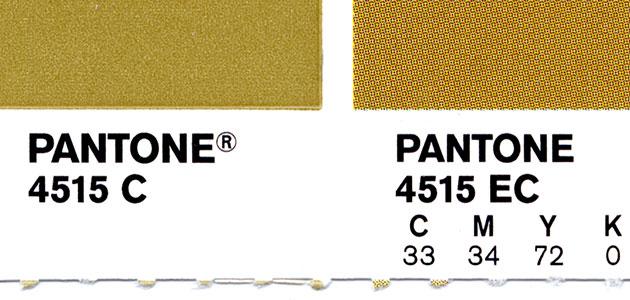 Pantone gold pantone swatch showing spot
