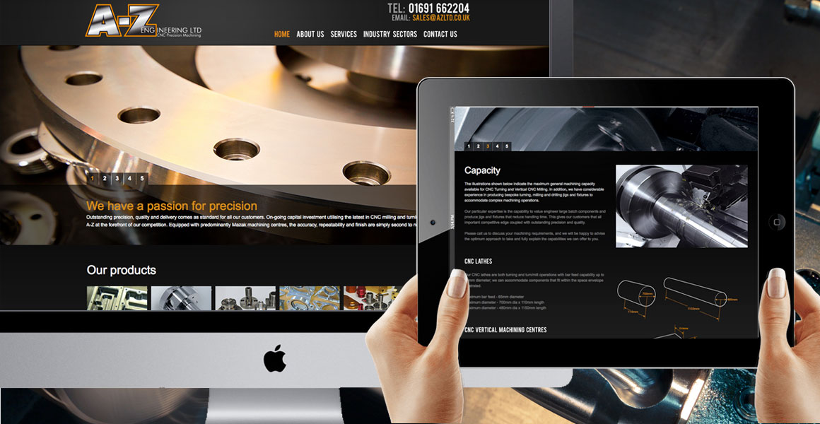 website design for A-Z Precision Engineering , Shropshire