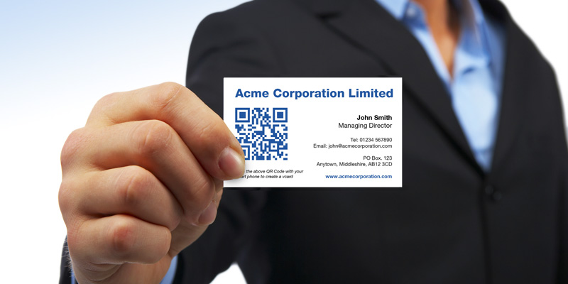 Business cards can now be printed with a QR (Quick Response) Code