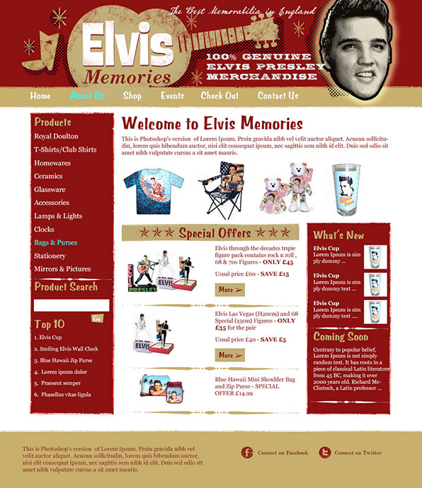 Website Design for Elvis Memorabilia Site