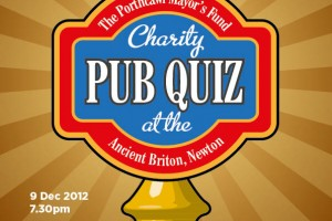 Poster design for charity pub quiz at Ancient Briton pub, Porthcawl