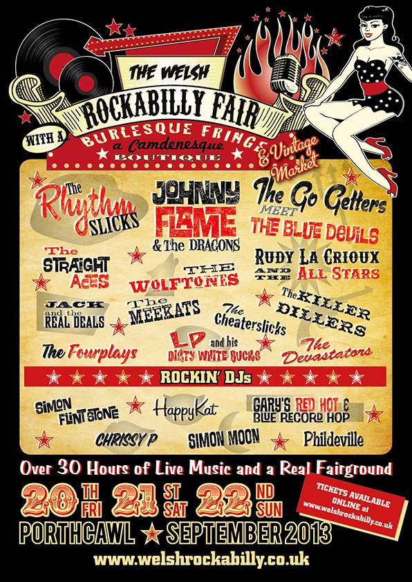 Poster Design for The Welsh Rockabilly Fair, Porthcawl, South Wales