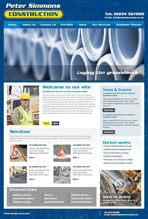 Website design for South Wales Construction Company